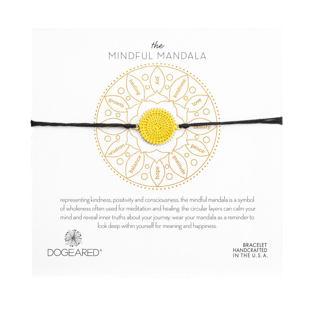 Mindful Mandala Adjustable Cord Bracelet - Gold