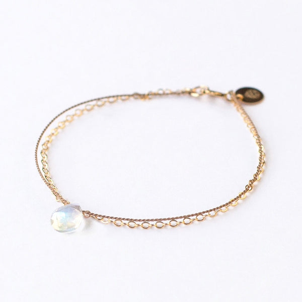 Gold & Silk Bracelet - Rainbow Moonstone