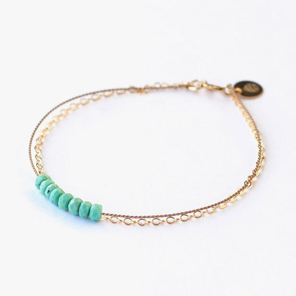 Gold & Silk Turquoise Beaded Bracelet