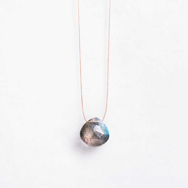 Fine Cord Necklace - Iridescent Labradorite