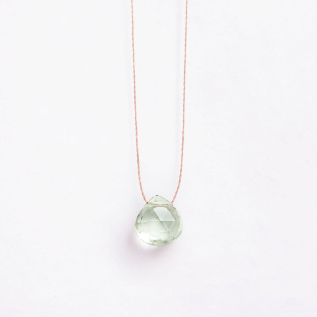 Fine Cord Necklace - Mint Green Amethyst