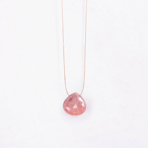 Fine Cord Necklace - Pink Jasper