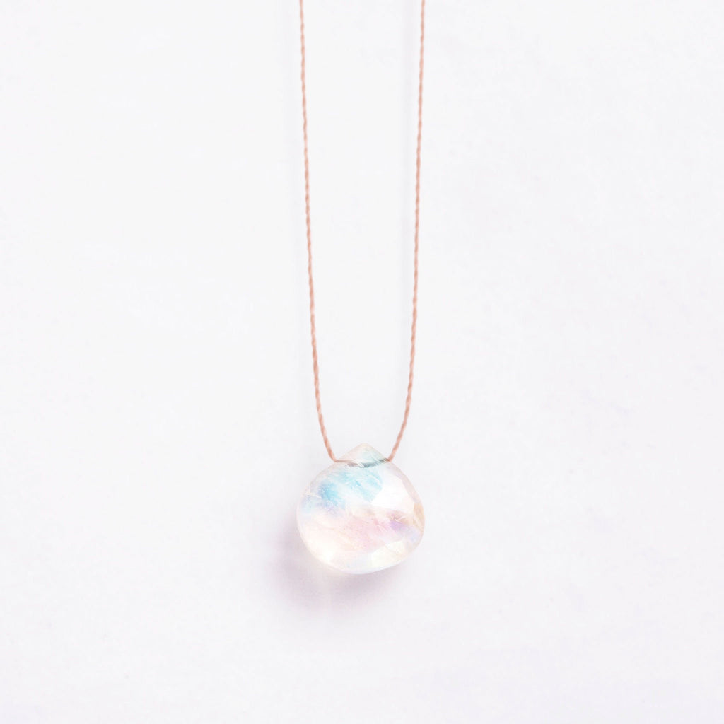 Fine Cord Necklace - Rainbow Moonstone