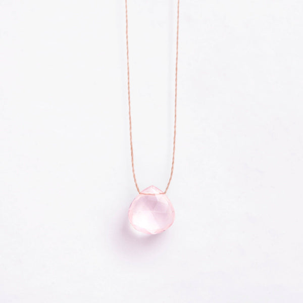 Fine Cord Necklace - Rose Quartz