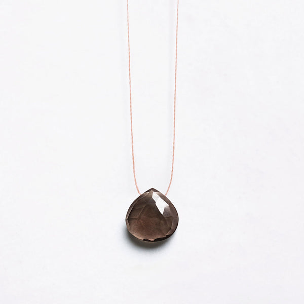 Fine Cord Necklace - Smokey Quartz
