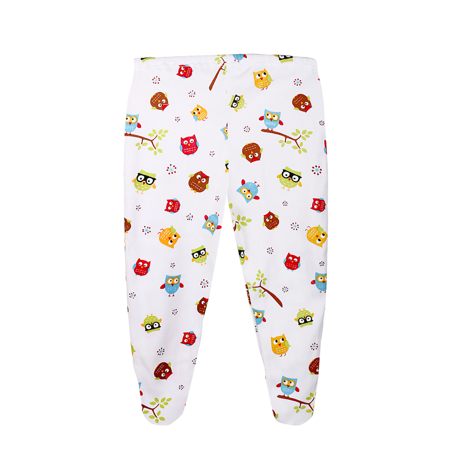 Pyjama Pant with Cover Feet in Owl White