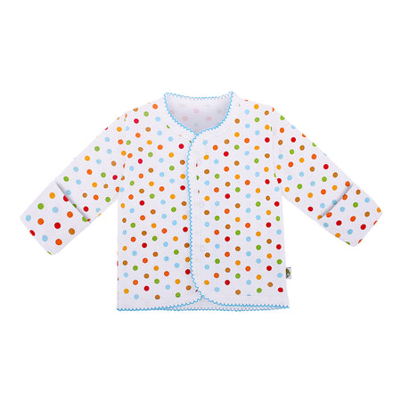 Snap Button Top Long Sleeve with Reversible Mitten Polka Dot