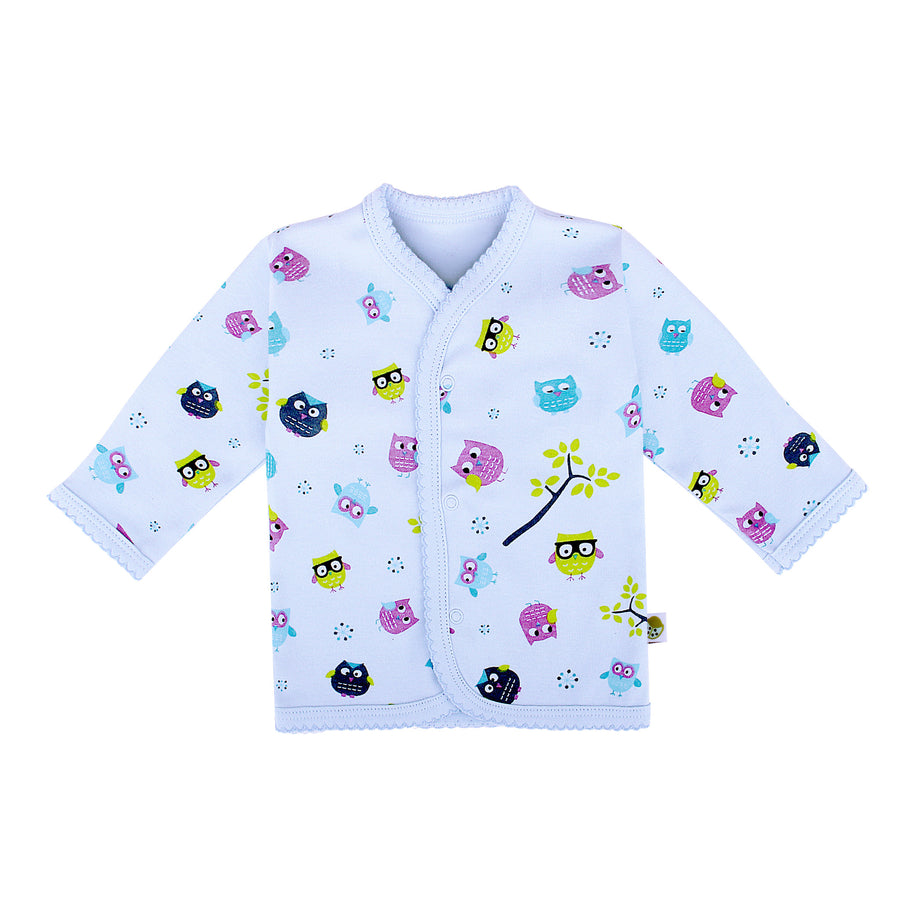 Snap Button Top Long Sleeve with Reversible Mitten Cutie Owl