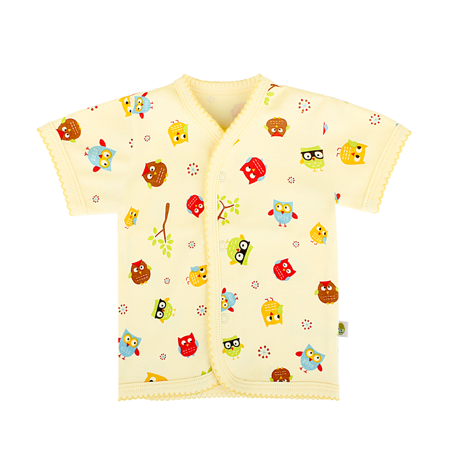 Snap Button Top Short Sleeve in Cutie Owl