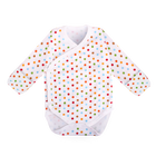 Kimono Bodysuit Long Sleeve with Reversible Mitten Polka Dot