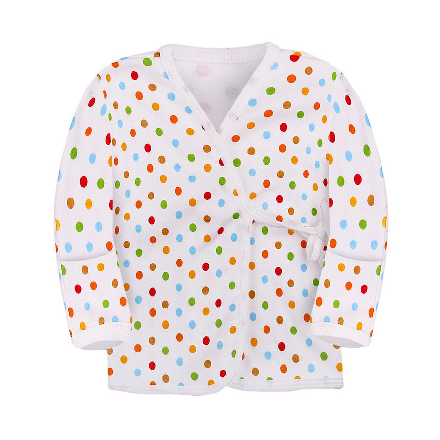 Kimono Top Long Sleeve with Reversible Mitten in Polka Dot