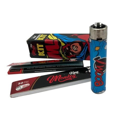 Monkey King Monkey Kit - Slim Papers, Double Tips and Lighter