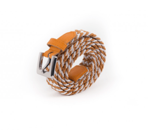 Braided Belt Women Orange White