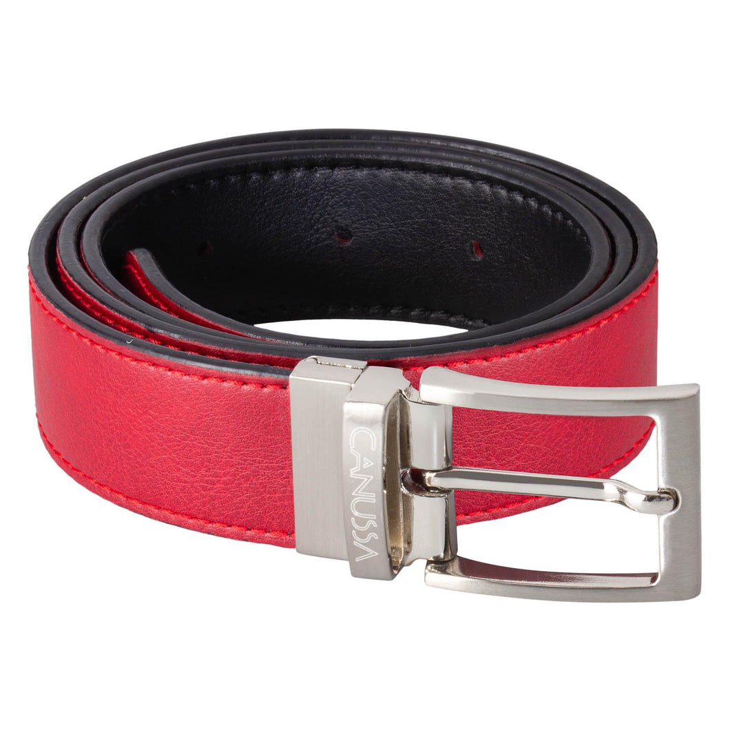 Reverse Vegan Belt – Reversible Black/Red