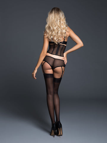 Sheer Desire Bralette, Cinture And Panty With Garters