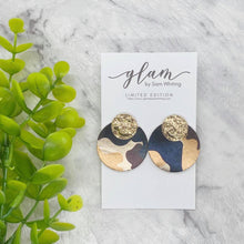 Load image into Gallery viewer, CIRCLE STUDS // Metallic Leather Earrings