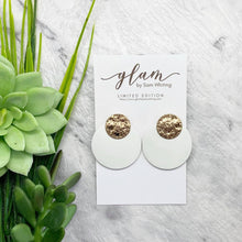Load image into Gallery viewer, CIRCLE STUDS // Morning Mist Leather Earrings
