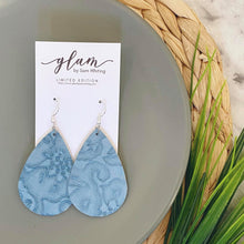 Load image into Gallery viewer, powder blue embossed teardrop earrings with silver hook
