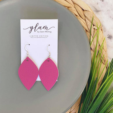 pink midi sized faux leather earrings with silver hook