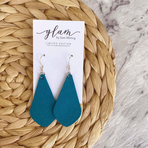 Teal Diamond Drops made out of Faux suede leather earrings with silver coloured hooks.