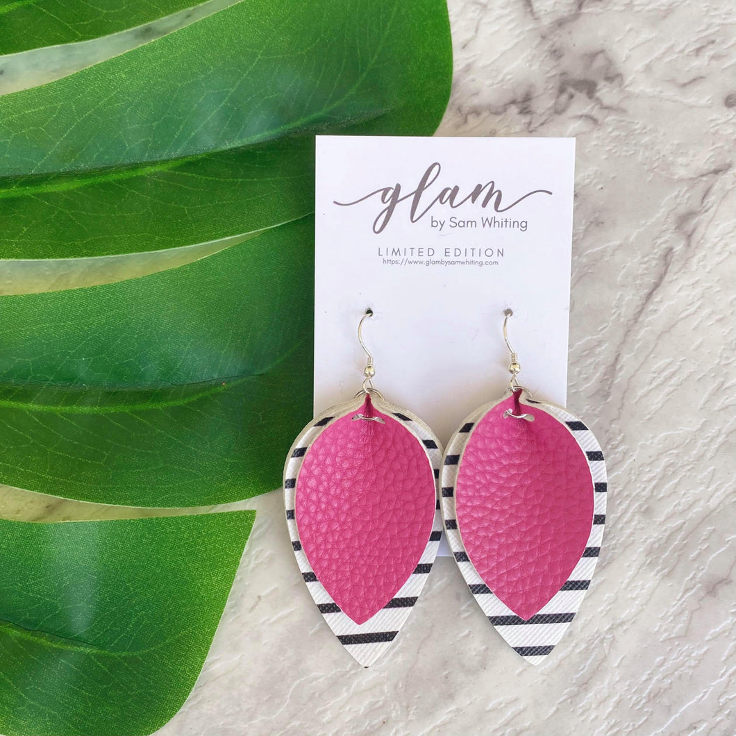 Black and white striped petals layered with Mexican Pink.  Faux leather earrings with silver coloured hooks from the Frida Collection.