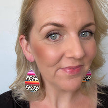 Load image into Gallery viewer, Double sided sarape and leopard print earrings. Made out of Faux leather with silver coloured hooks. From the Frida Collection.
