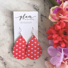 Load image into Gallery viewer, Sweet hearts. Red and light pink teardrop earrings. Faux leather with silver coloured hooks.