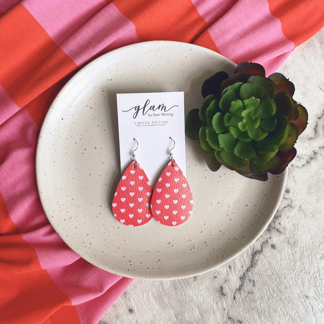 Sweet hearts. Red and Pink teardrop earrings. Faux leather with silver coloured hooks.