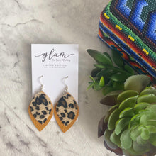 Load image into Gallery viewer, Mustard Leopard Double Layer  //  Faux Leather Earrings