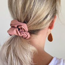 Load image into Gallery viewer, Dusty pink faux leather hair scrunchie in ponytail
