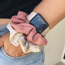 Load image into Gallery viewer, Dusty pink and cream faux leather hair scrunchie on wrist