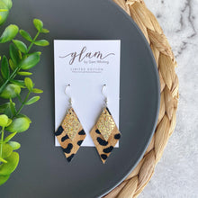 Load image into Gallery viewer, Leopard and Holo Midi Diamonds // Leather Earrings