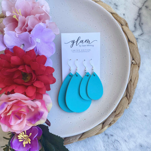 Aqua Mummy and Me leather earrings set.