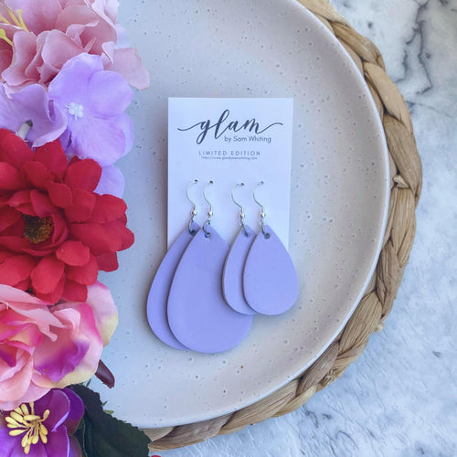 Lilac Mummy and Me leather earrings set.