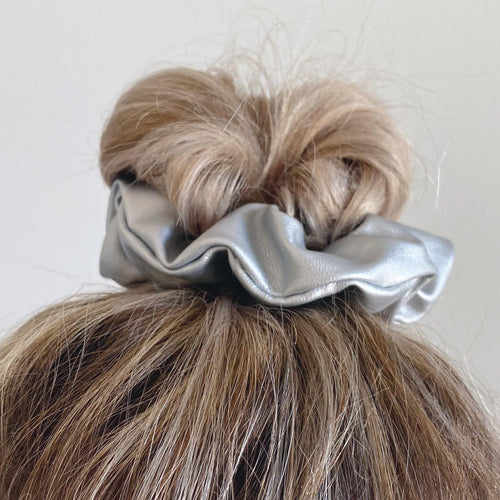 Silver faux leather hair scrunchie in top knot