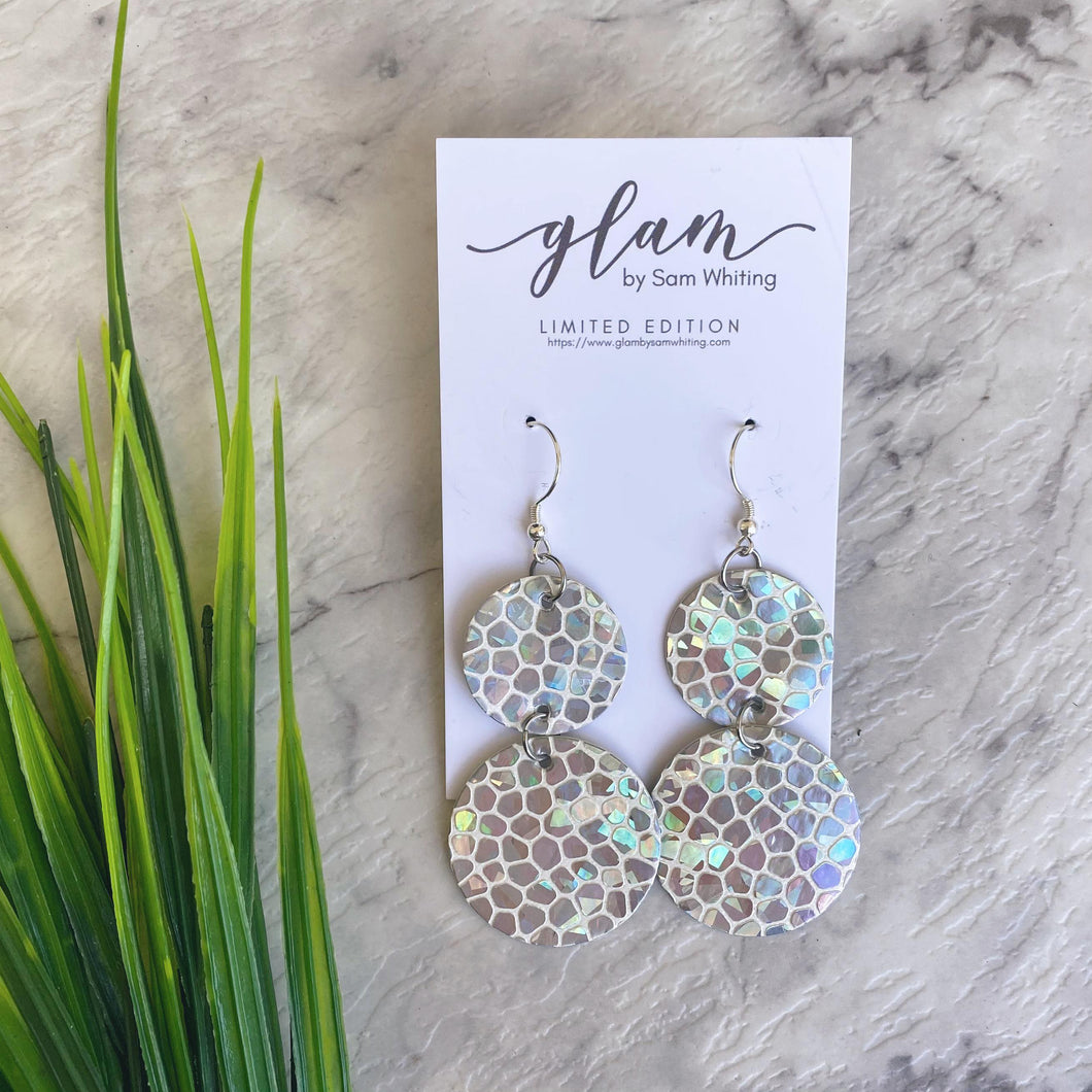 Silver holo pebbles faux leather earring with silver coloured hook.