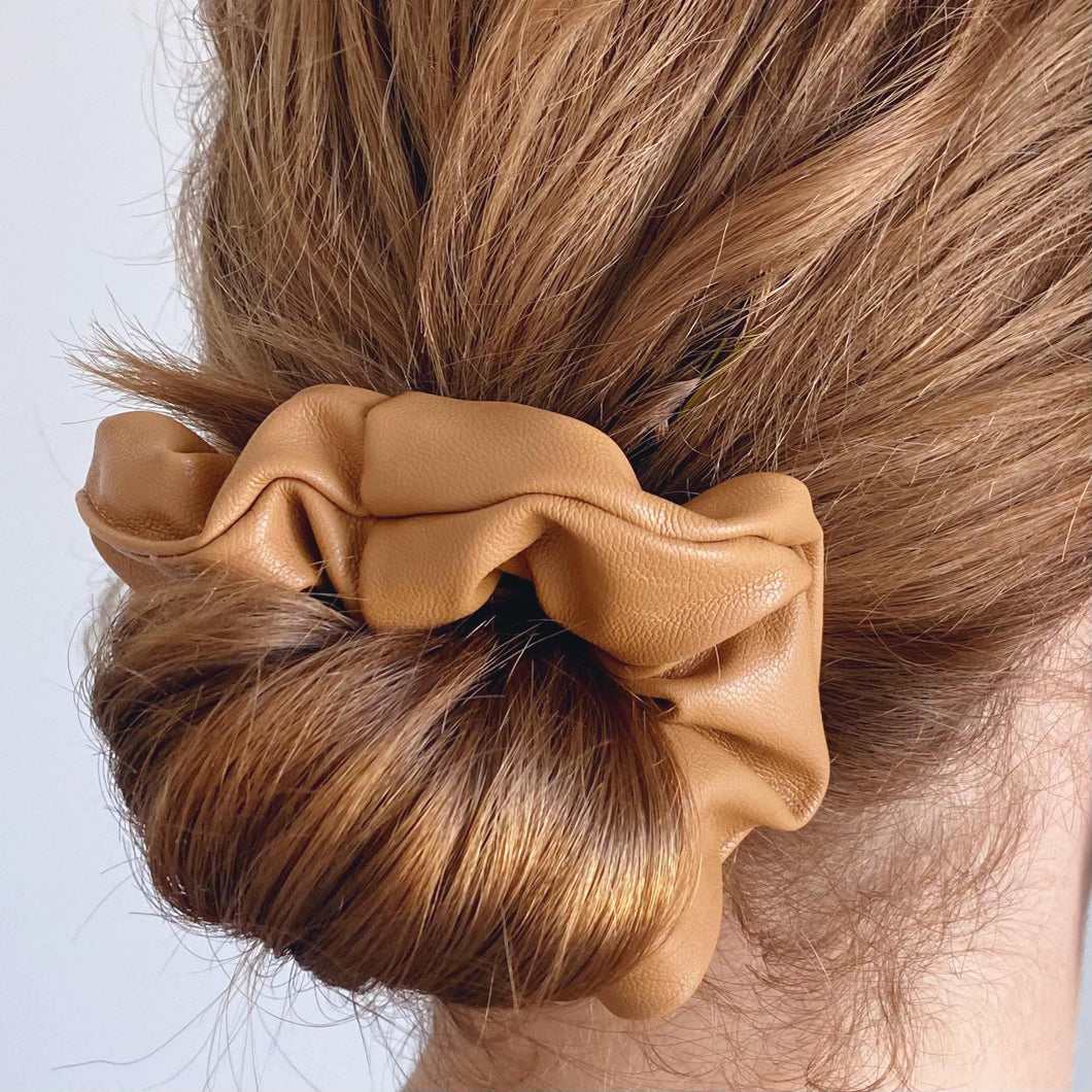 Tan faux leather hair scrunchie low bun