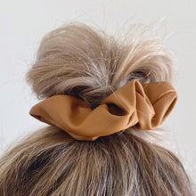 Load image into Gallery viewer, Tan faux leather hair scrunchie messy bun
