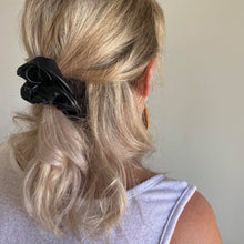Load image into Gallery viewer, Black faux leather hair scrunchie half up half down style