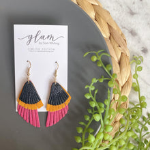 Load image into Gallery viewer, colour blocked, triple layer feathered leather earrings featuring a gold coloured hook.