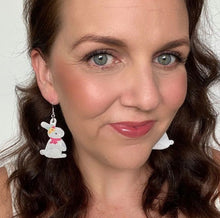 Load image into Gallery viewer, Selfie of Bunny Faux Leather Earrings