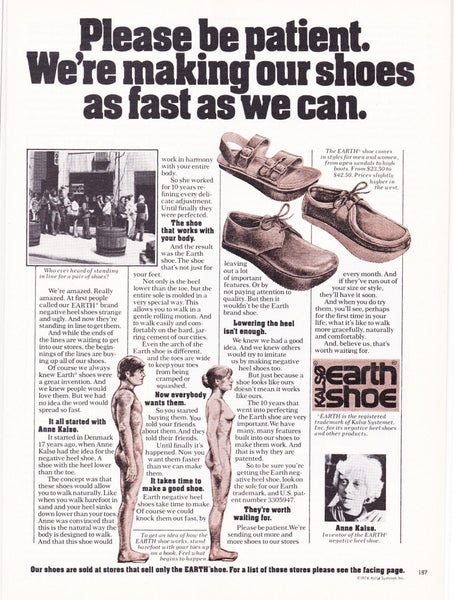 8acb694abbdf2 An advert for Earth Shoes. Designed by a Danish yoga teacher