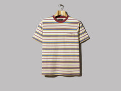 Beams Plus Multi Stripe Pocket Tee (Burgundy)