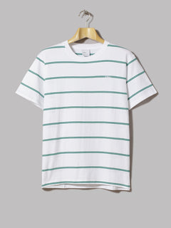 Adsum Double Stripe Tee (White / Evergreen / Mint)