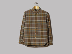 Beams Plus Button Down Shaggy Oxford Check Shirt (Brown)