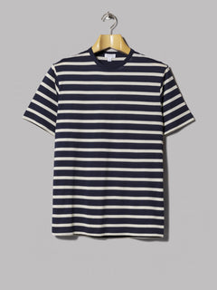 Sunspel Crew Neck T-Shirt (Navy / Ecru Breton Stripe)