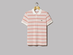 Lacoste Stripe Pique Polo (Red / White)