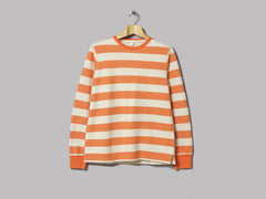 Albam Stripe Ribless Hem Sweat (Orange / Ecru)