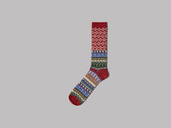 Anonymous Ism Fair Isle JQ Crew Socks (Red)
