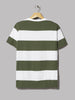 Champion Crewneck Wide Stripe T-Shirt (Green / White)